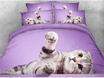 3D Cat Lying on the Side Purple Printed Cotton 4-Piece Bedding Sets/Duvet Covers