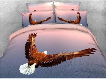 3D Eagle Fly Over the Sea Printed Cotton 4-Piece Bedding Sets/Duvet Covers