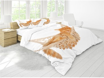A Sleeping Cat White Printing Cotton 4-Piece 3D Bedding Sets/ Duvet Cover Sets
