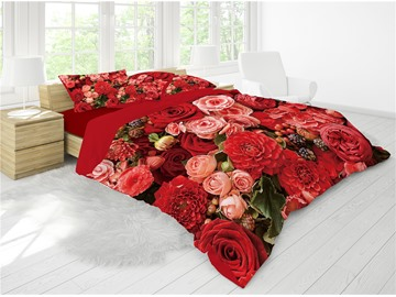 3D Red&Blush Pink Flower Blooming Printing Luxury 4-Piece Cotton Bedding Sets/ Duvet Cover Sets