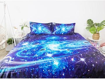 3D Starry Universe Planet Galaxy 4Pcs Navy Blue Bedding Set Zipper Duvet Cover Set with Non-slip Ties Soft Skin-friendly Polyester