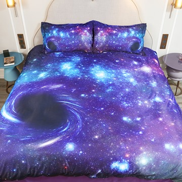 3D Purple Starry Galaxy Spiral Outer Space Bedding 4 PCS Duvet Cover Set Ultra Soft Comforter Cover with Zipper Closure and Corner Ties 2 Pillowcases 1 Flat Sheet 1 Duvet Cover Soft Skin-friendly Polyester