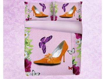 Vivilinen 3D Orange High Heels and Butterfly Printing 4-Piece Bedding Sets/Duvet Covers