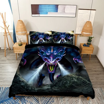 Powerful Dragon Digital Printing 4-Piece 3D Bedding Set / Duvet Cover Set
