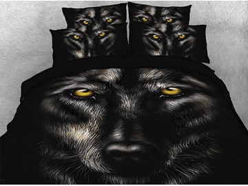 Vivilinen 3D Wild Wolf Digital Printing 4-Piece Black Bedding Sets/Duvet Covers