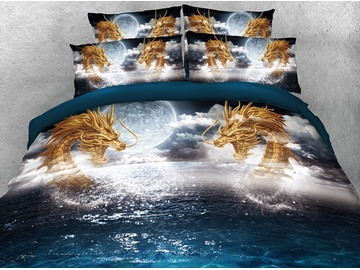3D Digital Printing Golden Dragon on the Sea 4-Piece Bedding Sets/Duvet Covers