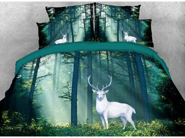 3D White Wapiti in the Forest Digital Printing 4-Piece Bedding Sets/Duvet Cover