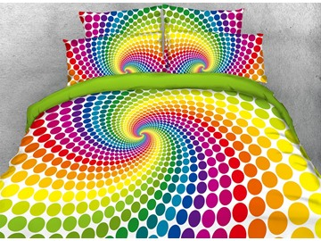 Rainbow Spiral Wave Point Digital Printing Polyester 3D 4-Piece Bedding Sets/Duvet Covers