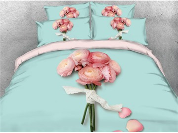 Vivilinen 3D A Bouquet of Blush Pink Peonies Digital Printing 4-Piece Bedding Sets/Duvet Covers