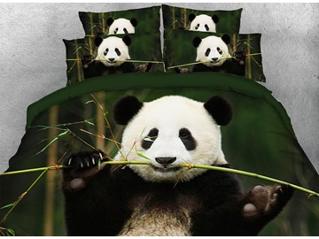 Onlwe 3D Panda Eating Bamboo Digital Printing Cotton 4-Piece Bedding Sets/Duvet Covers
