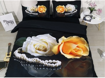 3D White and Yellow Rose Digital Printing Polyester 4-Piece Black Bedding Sets/Duvet Covers