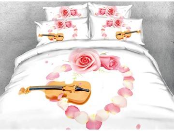 3D Violin and Heart Shaped Blush Pink Rose Petal Digital Printing Cotton 4-Piece Bedding Sets/Duvet Cover