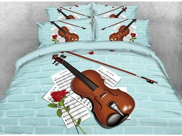 3D Violin and Music Score Digital Blue Wall Brick Printing Cotton 4-Piece Bedding Sets/Duvet Cover