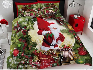 3D Santa Claus and Christmas Ornaments Digital Printing Cotton 4-Piece Bedding Sets/Duvet Covers
