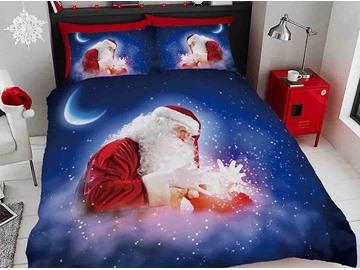 3D Magical Santa Claus Dream Blue Digital Printing Cotton 4-Piece Bedding Sets/Duvet Covers