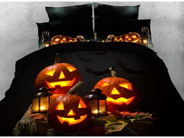 Halloween Smiling Pumpkin Lantern Digital Printing 4-Piece 3D Bedding Sets/Duvet Covers