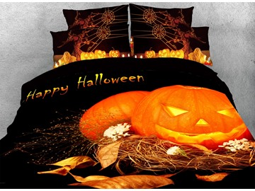 3D Halloween Jack-o'-lantern Digital Printing Orange Cotton 4-Piece Bedding Sets/Duvet Covers