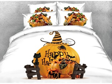 3D Halloween Candy & Pumpkin Digital Printing Cotton 4-Piece Bedding Sets/Duvet Covers