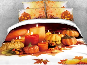 3D Candle and Halloween Pumpkin Orange Digital Printed 4-Piece Bedding Sets/Duvet Covers