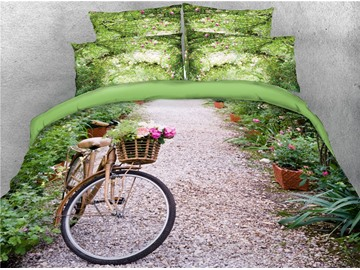 3D Bicycle and Quiet Path with Flowers Green Digital Printed Cotton 4-Piece Bedding Sets