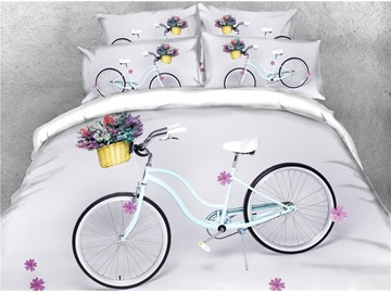 3D Bicycle and Flower White Digital Printed Cotton 4-Piece Bedding Sets