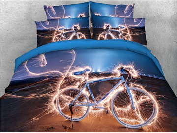 3D Shiny Cool Bicycle in the Night Digital Printed Cotton 4-Piece Bedding Sets