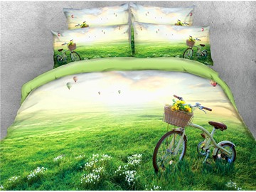 3D Bicycle and Vibrant Green Grass Digital Printed Cotton 4-Piece Bedding Sets