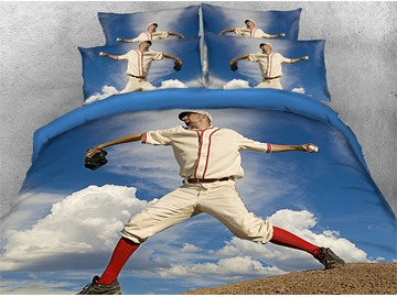 3D Baseball Ready to Throw Ball Digital Printed Cotton 4-Piece Bedding Sets/Duvet Covers