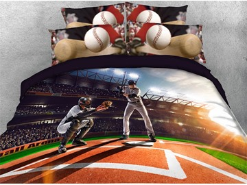 Baseball Player on the Filed Digital Printed Cotton 3D 4-Piece Bedding Sets/Duvet Covers