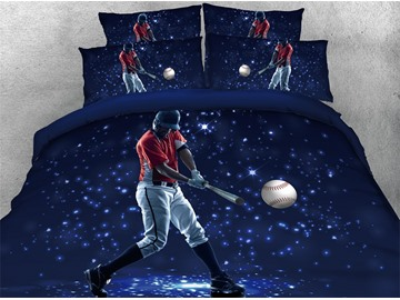 3D Athlete Plays Baseball Dark Blue Digital Printed Cotton 4-Piece Bedding Sets/Duvet Covers