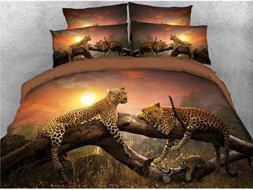 3D Leopard Family Relaxing on the Sunset Digital Printed 4-Piece Bedding Sets/Duvet Covers