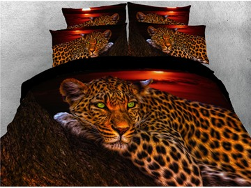 Wild Leopard Lying on the Trunk Digital Printed 4-Piece 3D Bedding Sets/Duvet Covers