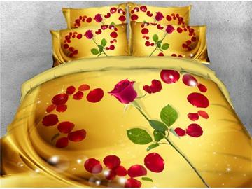 3D Heart Shaped Red Rose Petal Golden Digital Printing Cotton 4-Piece Bedding Sets/Duvet Covers