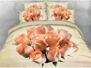 3D A Bouquet of Blush Pink Rose Golden Luxury Printing Cotton 4-Piece Bedding Sets/Duvet Covers