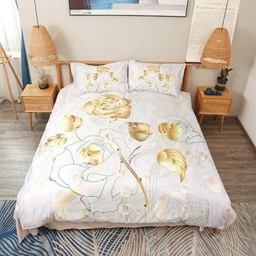 Golden Luxury Rose Digital Printing Polyester 4-Piece 3D Bedding Sets/Duvet Covers