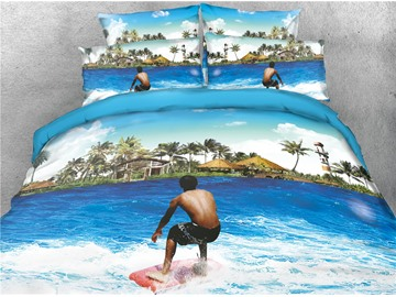 3D Surfing on the Azure Sea Digital Printed Cotton 4-Piece Bedding Sets/Duvet Covers