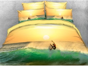 Sea Surfing Buffy Duvet Cover Set with Non-slip Ties 4-Piece 3D Scenery Bedding Sets Durable Soft Bedding