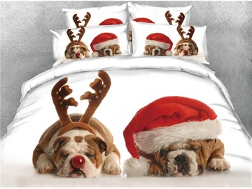 3D Pug Wearing Christmas Hat Digital Printed Cotton 4-Piece Bedding Sets/Duvet Covers