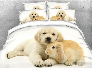 3D Puppy and Rabbit Digital Printed Polyester 4-Piece Bedding Sets/Duvet Covers