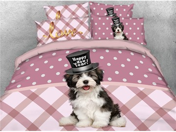 3D Puppy Wearing a Hat Digital Printed Cotton 4-Piece Bedding Sets/Duvet Covers
