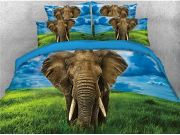 3D Elephant and Green Grass Digital Printed 4-Piece Black Bedding Sets/Duvet Covers