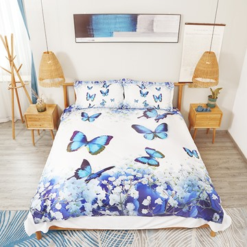 Blue Butterflies and Floral Digital Printing Polyester 3D 4-Piece Bedding Sets/Duvet Covers