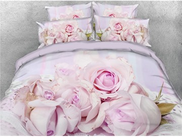 3D Light Purple Flowers Digital Printing Cotton 4-Piece Bedding Sets/Duvet Covers