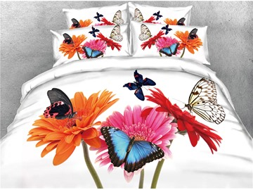 3D Colorful Butterflies and Daisy Digital Printing Cotton 4-Piece Bedding Sets/Duvet Covers