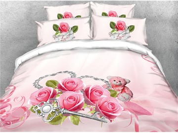 Pink Rose and Silver Key Digital Printing Cotton 4-Piece 3D Bedding Sets/Duvet Covers