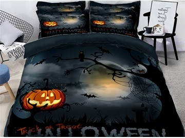 3D Pumpkin Lantern and Halloween Bats Printing Polyester 4-Piece Bedding Sets/Duvet Covers