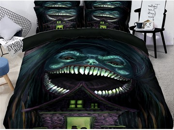 3D Weird Smile Monster Halloween Printing Polyester 4-Piece Bedding Sets/Duvet Covers