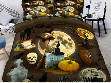 3D Pumpkin & Headstones Halloween Elements Printing Polyester 4-Piece Bedding Sets/Duvet Covers