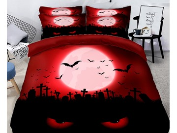 Witch and Pumpkin Scary Away the Ghost Printing Polyester 3D 4-Piece Bedding Sets/Duvet Covers