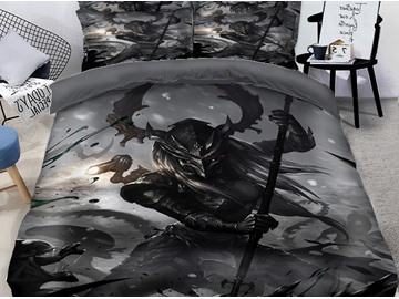 3D Skull and Monsters Fight for Evil Printing Polyester 4-Piece Bedding Sets/Duvet Covers